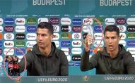 Скандал на Євро-2020: Кріштіану Роналду викинув пляшки Кока-Коли і сказав пити чисту воду. ВІДЕО