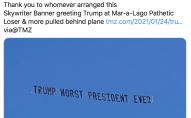 Банер над маєтком Трампа: «Ти патологічний лузер, повертайся до Москви»