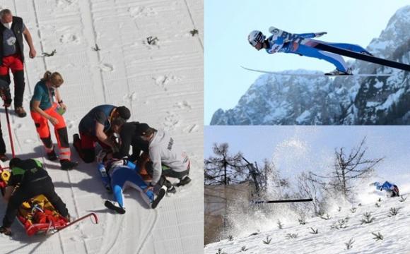 Показали відео моторошного падіння норвезького стрибуна з трампліна