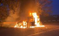 Згорів вщент: у Рівному під час руху спалахнув автомобіль. ФОТО