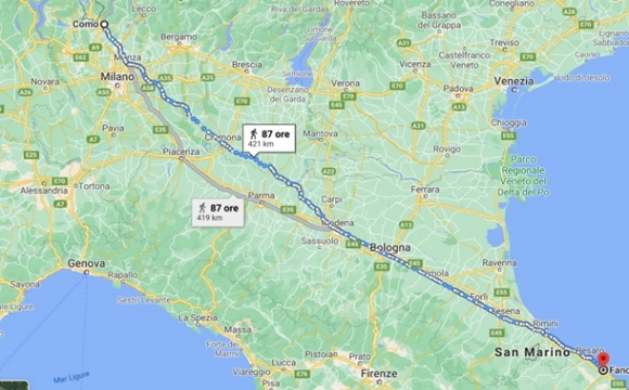 Італієць пройшов 450 км, щоб