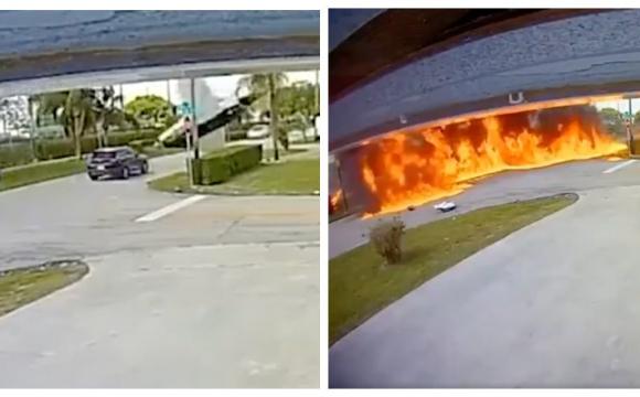 Екіпаж загинув на місці: у США літак впав прямо на авто. ВІДЕО