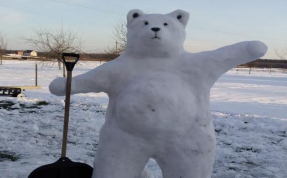 На Волині зліпили 2-метрового сніговика-ведмедя. ФОТО