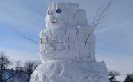 Волинський одинадцятикласник цілий тиждень мурував 5-метрового сніговика. ФОТО